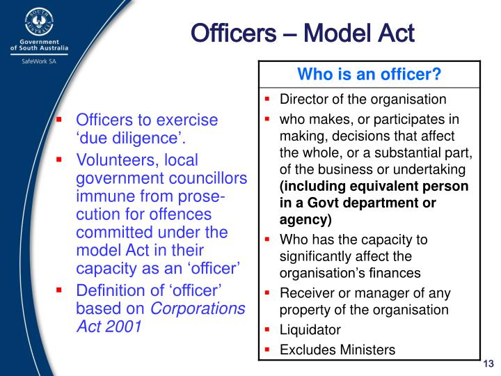 Officers – Model Act