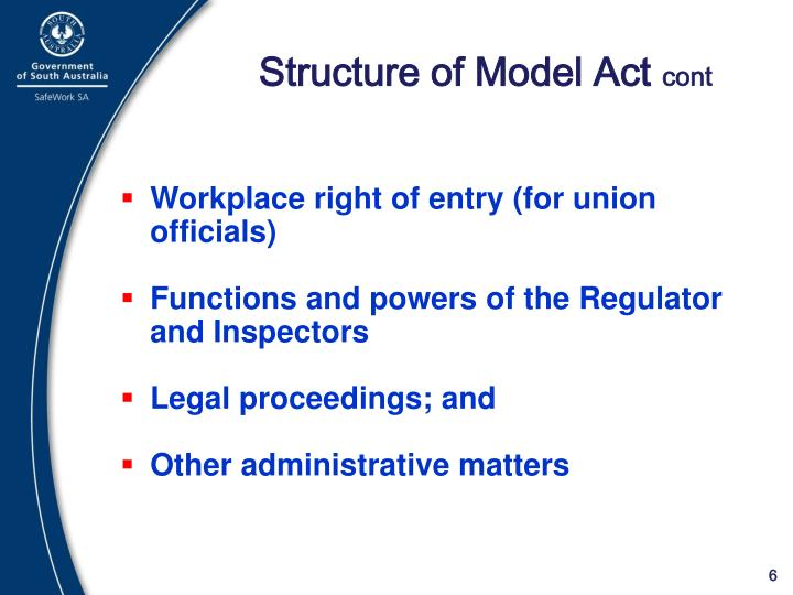 Structure of Model Act