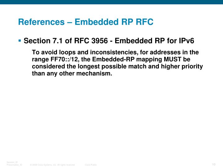 References – Embedded RP RFC