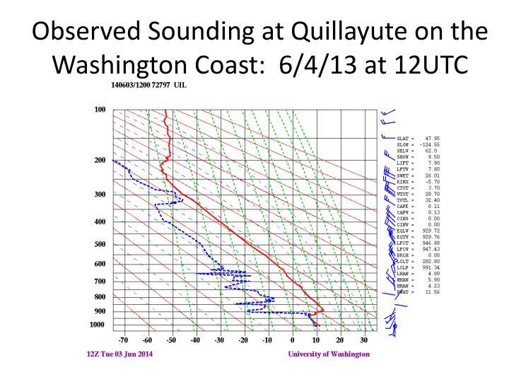 Observed Sounding at Quillayute on the Washington Coast:  6/4/13 at 12UTC