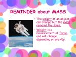 reminder about mass