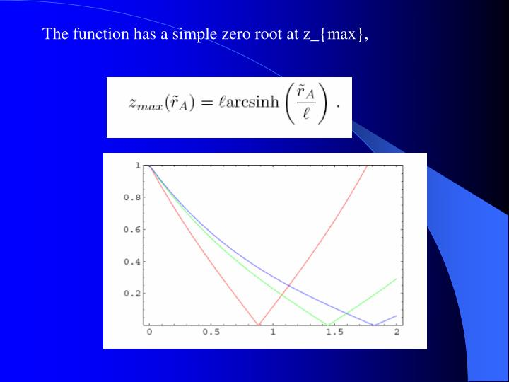 The function has a simple zero root at z_{max},