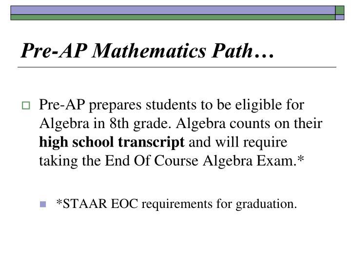 Pre-AP Mathematics Path…