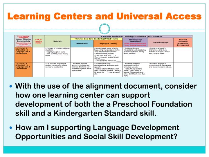 Learning Centers and Universal Access