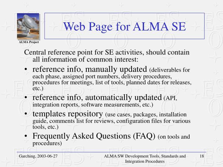 Web Page for ALMA SE