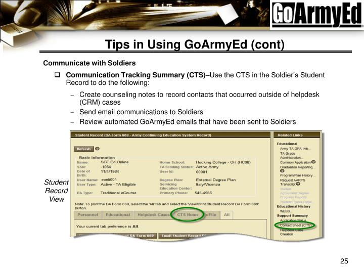 Tips In Using GoArmyEd (cont)