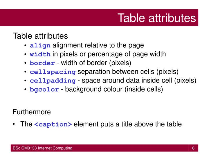 Ppt tables powerpoint presentation id 3212306 for Table attributes