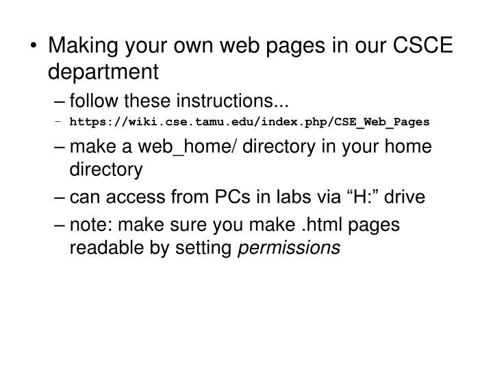 Making your own web pages in our CSCE department