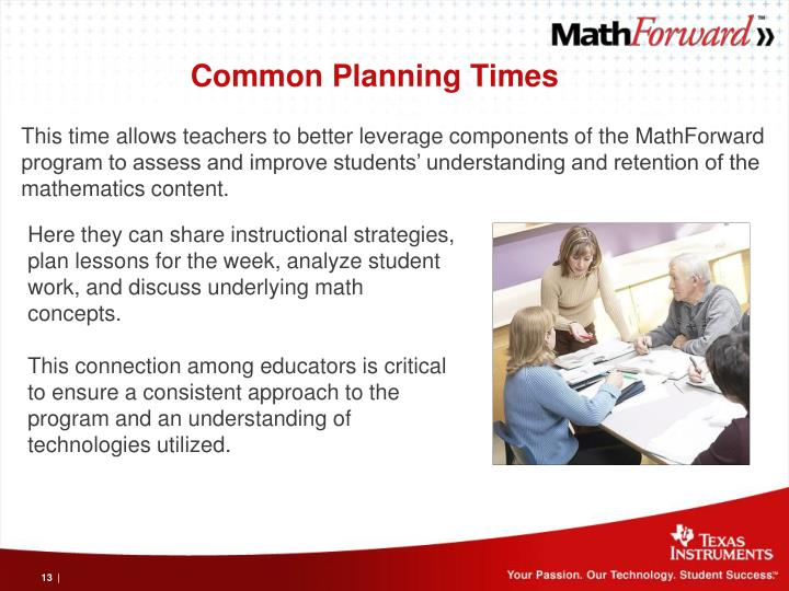 Common Planning Times