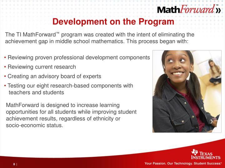 Development on the Program