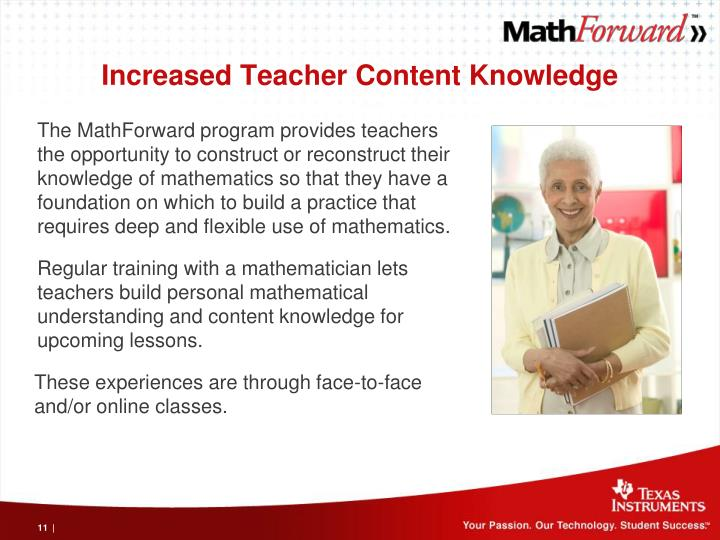 Increased Teacher Content Knowledge