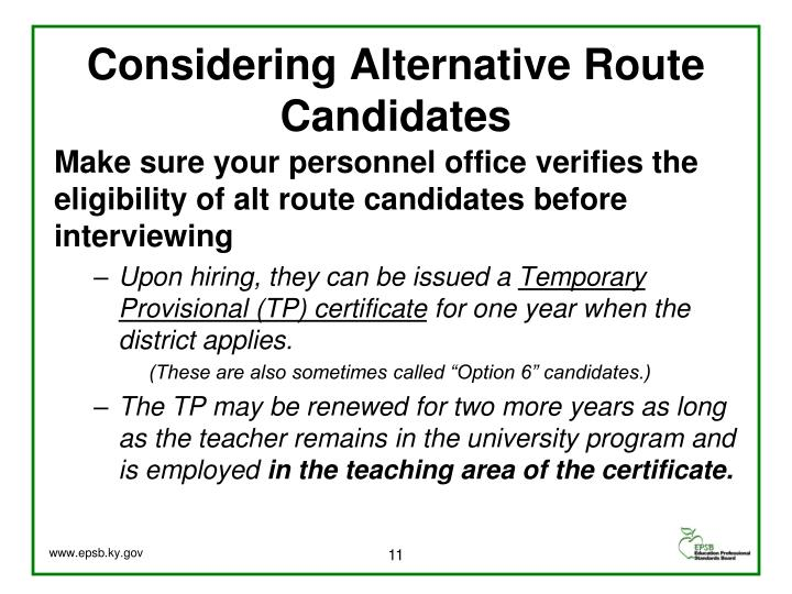 Considering Alternative Route Candidates