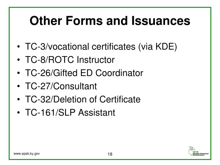 Other Forms and Issuances