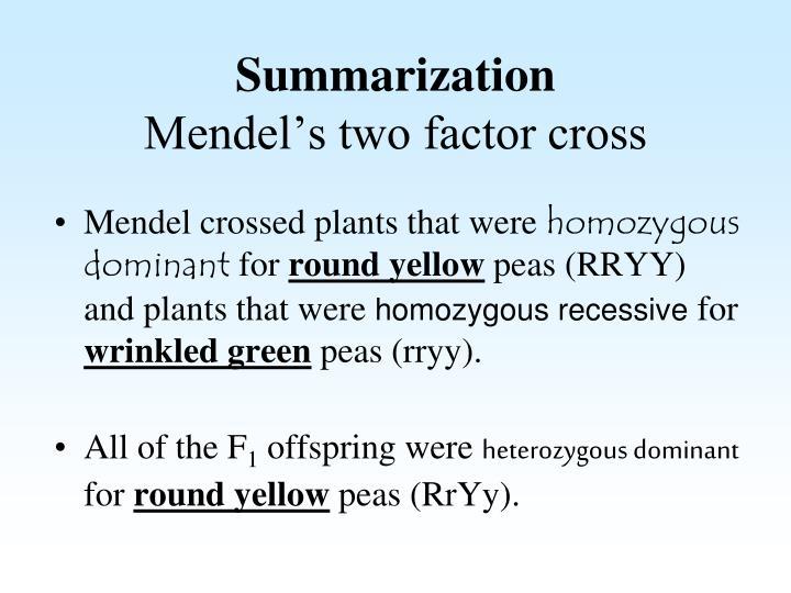 Summarization mendel s two factor cross