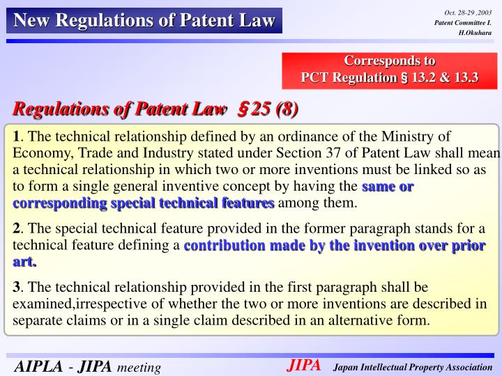 New Regulations of Patent Law