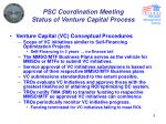 psc coordination meeting status of venture capital process4