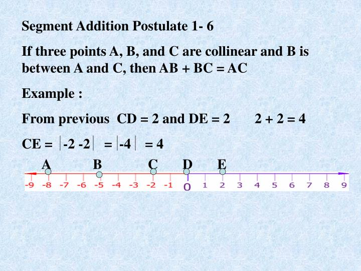 Segment Addition Postulate 1- 6