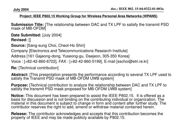 Project ieee p802 15 working group for wireless personal area networks wpans