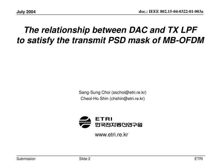 The relationship between dac and tx lpf to satisfy the transmit psd mask of mb ofdm