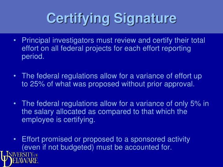 Certifying Signature