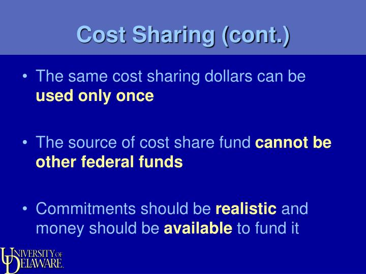 Cost Sharing (cont.)