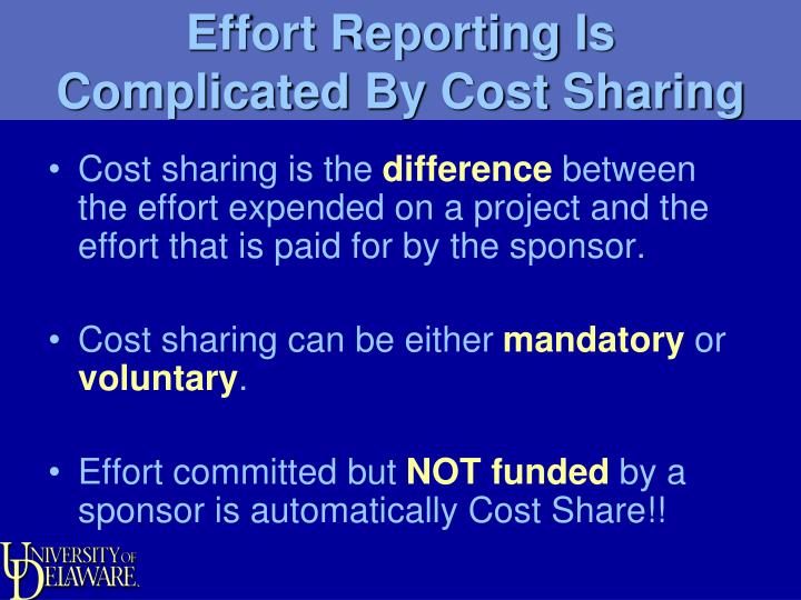Effort Reporting Is Complicated By Cost Sharing