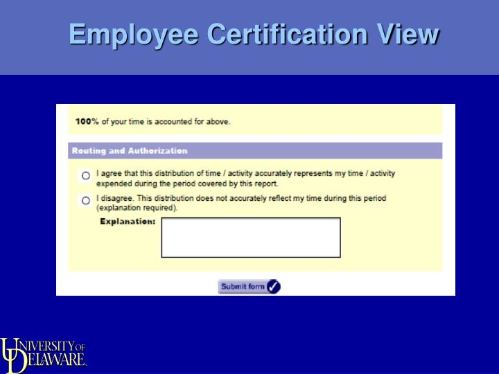 Employee Certification View