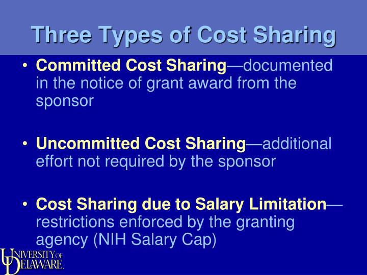 Three Types of Cost Sharing