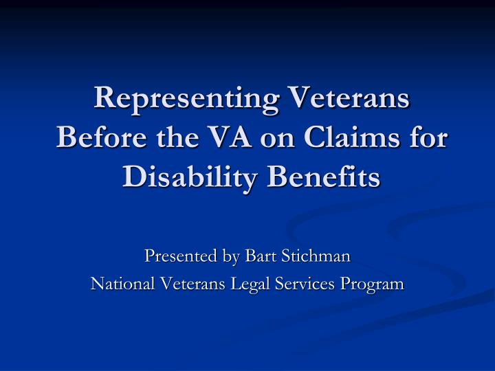 representing veterans before the va on claims for disability benefits n.