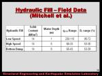 hydraulic fill field data mitchell et al