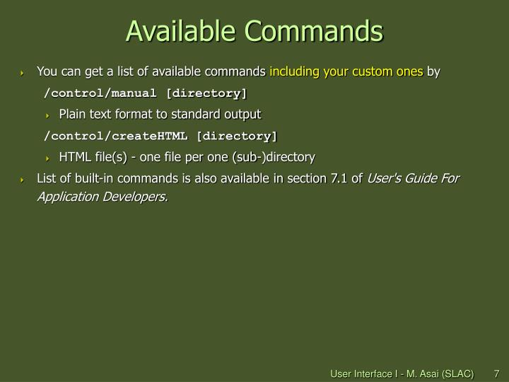 Available Commands