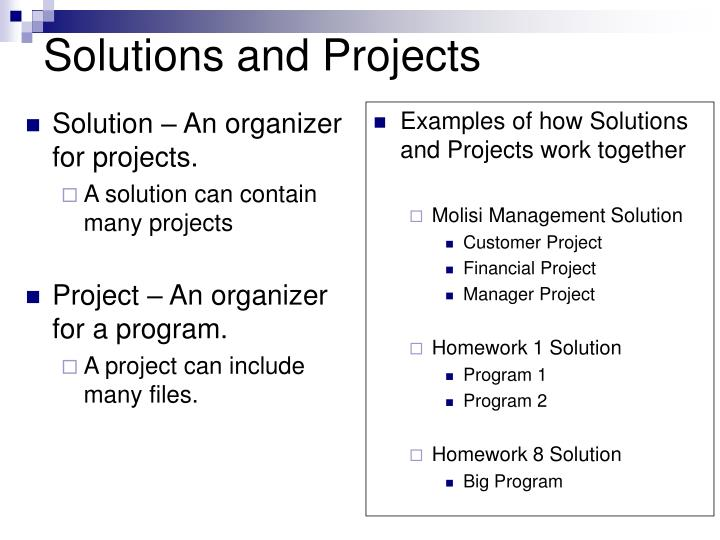 Solutions and Projects