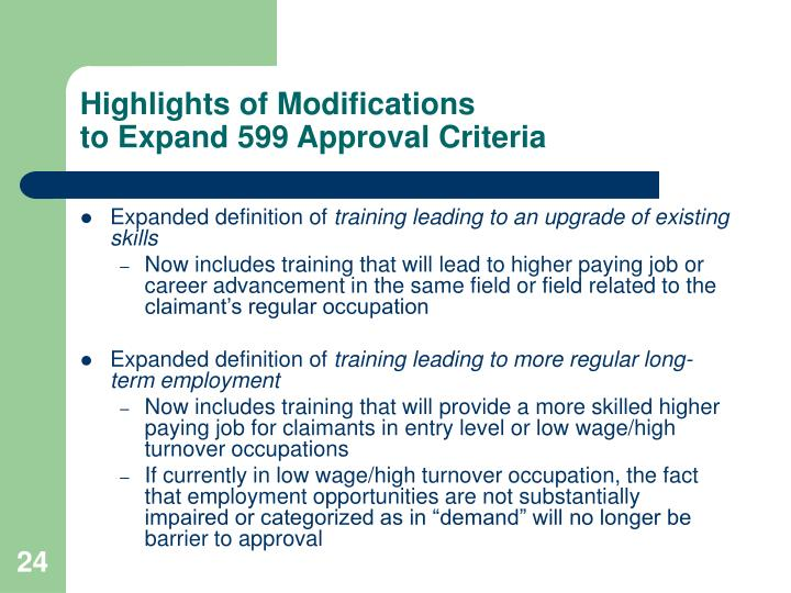 Highlights of Modifications