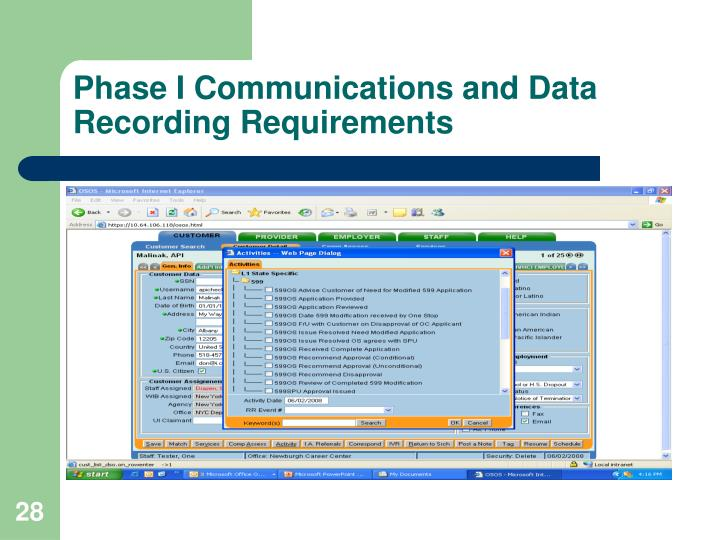 Phase I Communications and Data Recording Requirements