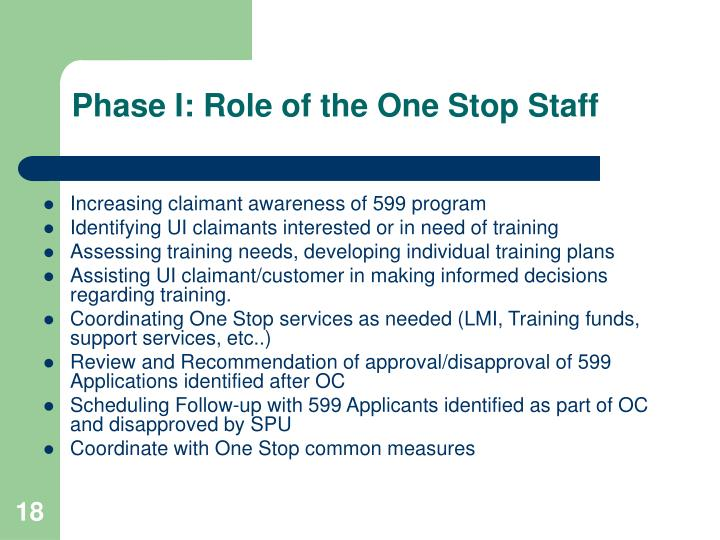 Phase I: Role of the One Stop Staff