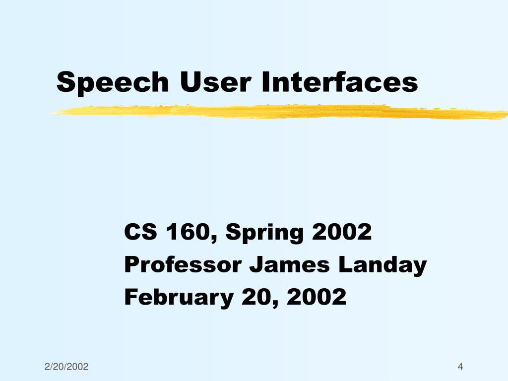 PPT - Speech User Interfaces PowerPoint Presentation - ID