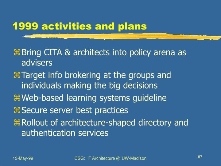 1999 activities and plans
