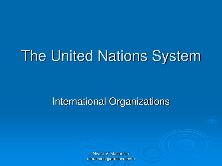 the united nations system n.
