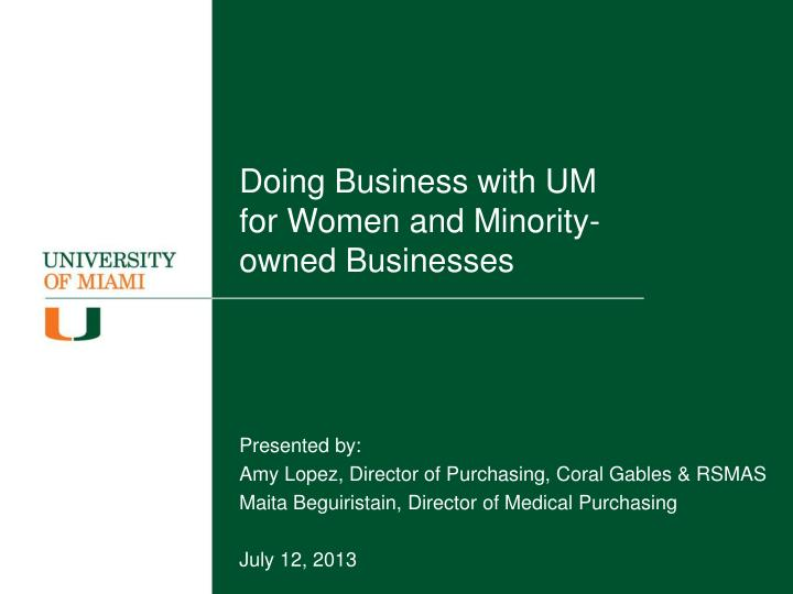 doing business with um for women and minority owned businesses n.
