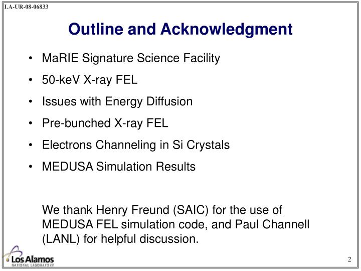 Outline and acknowledgment