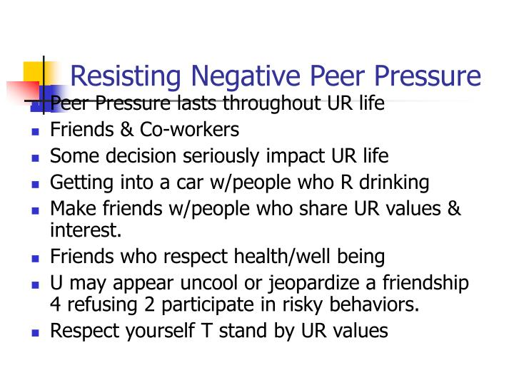 peer pressure leads to guilt and destruction Peer pressure basically entails being compelled to do what your friends or  a  guilt conscience arises whenever one goes against their will and does something  to please others  the latter comes about due to stress which may advance to  depression if  finally, learn to let go of destructive company.