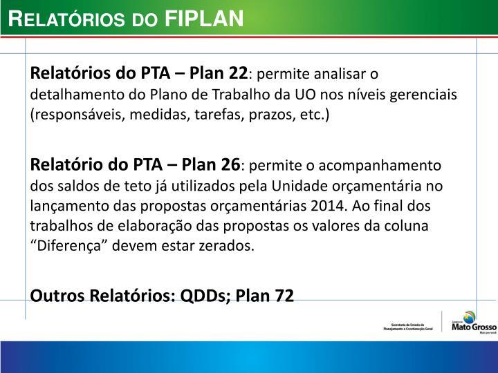 Relatórios do FIPLAN