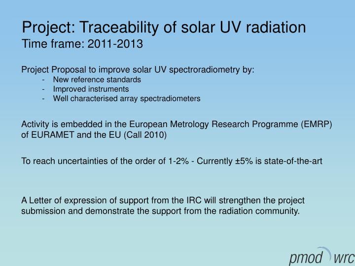 Project: Traceability of solar UV radiation