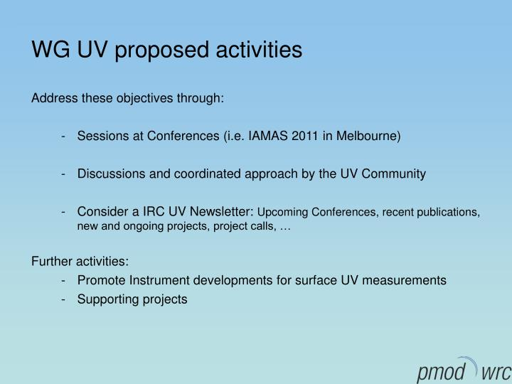 WG UV proposed activities