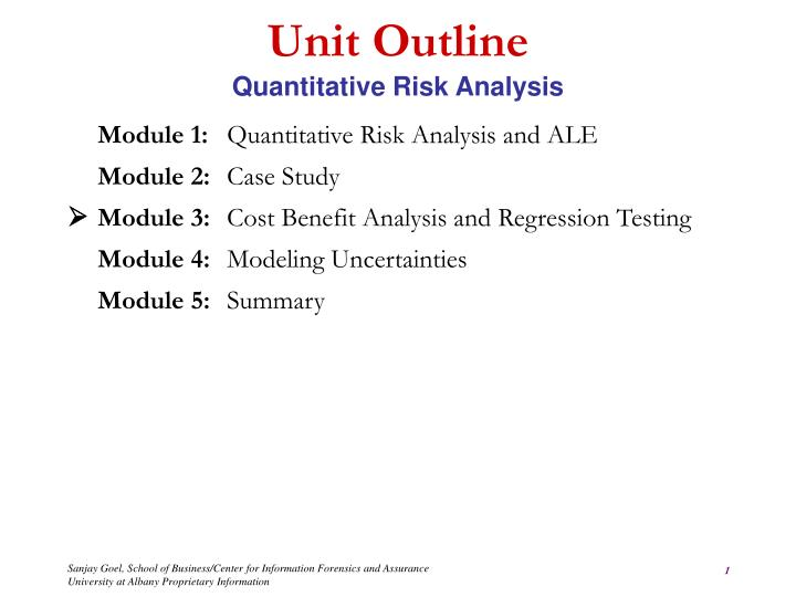 Ppt  Unit Outline Quantitative Risk Analysis Powerpoint