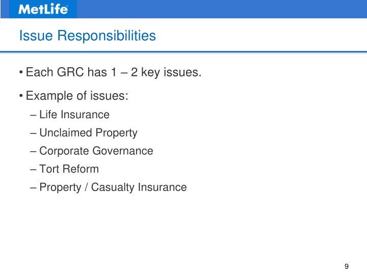 Issue Responsibilities