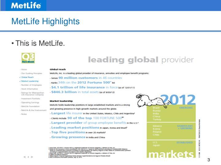Metlife highlights