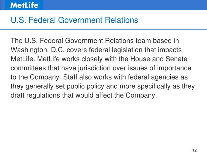 U.S. Federal Government Relations