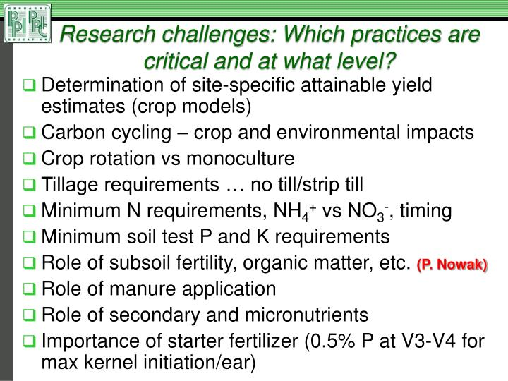 Research challenges: Which practices are critical and at what level?