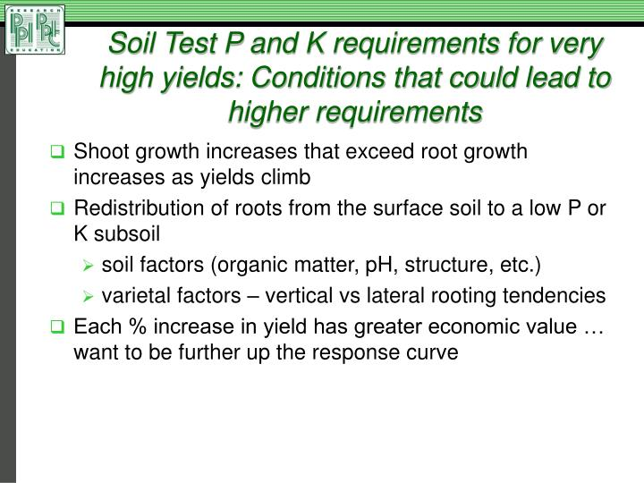 Soil Test P and K requirements for very high yields: Conditions that could lead to higher requirements